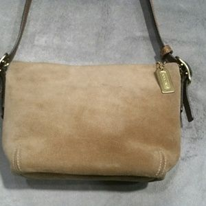 COACH Small Tan Suede Leather Shoulder Purse